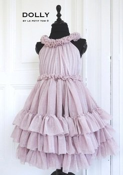 Dusty Pink and Glitter Ruffled Chiffon Dance Dress