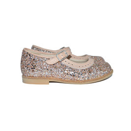 Girls Light Pink Glitter Leather Mary Jane Shoes