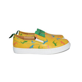Yellow Leather Zebra Print Trainer Shoes