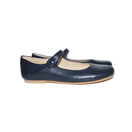 Girls Navy Blue Leather Mary Jane Shoes