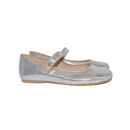 Girls Silver Leather Mary Jane shoes