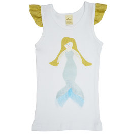 Mermaid Girl on White Tank with Flutter Sleeve