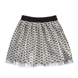 Little Girl Silver and Gold Pattern Jacquard Skirt
