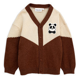 Brown Panda Knitted Wool Cardigan