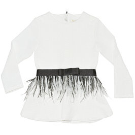 Off White Peplum Top with Detachable Feather Belt