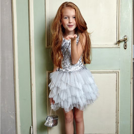 Silver layered tulle dress