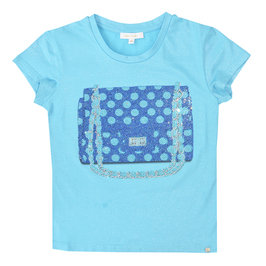Rhinestone on blue T-shirt