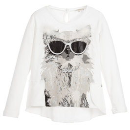 Girls White and Gray Cute Dog Print T-Shirt