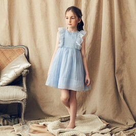 Mae Silk Dress in Iris Blue