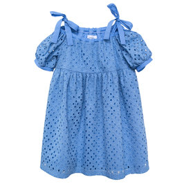 Embroidered Cotton Dress Lupina Blue