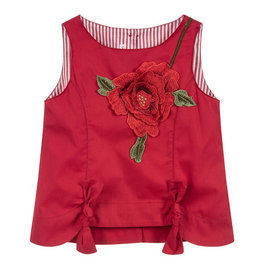 "Red Flower Embroidery ""Bibi"" Blouse"