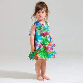 Coral Green Printed Ruffled Dress