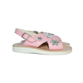 Leather Sandals with Embellished Flower