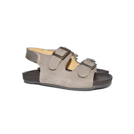 Double-buckled Suede Sandals with Velcro on Back