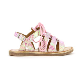 Shimmer pink leather sandals plagette guily