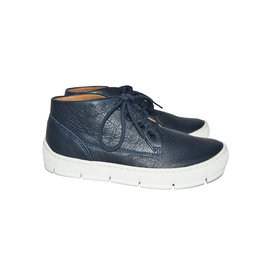Start desert navy blue leather sneakers