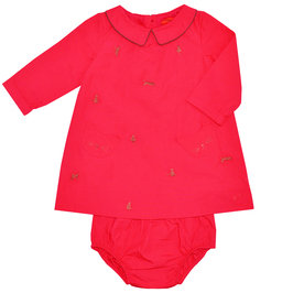 Baby Red Dress with Bloomer