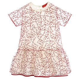 Off-white Silk Organza Dress with Red Cats Faces