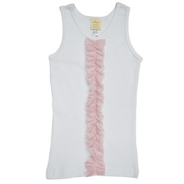 Sparkle Pink Ruffle on White Tank