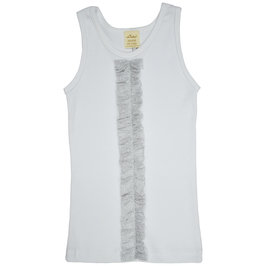 Sparkling Silver Ruffle on White Tank