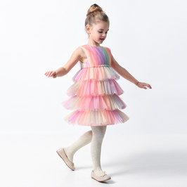 New Season: Girl Rainbow Multi-Layer Tulle Dress