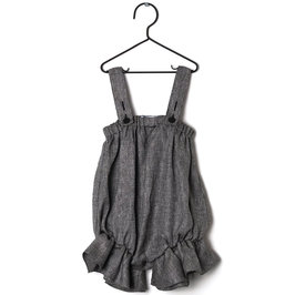 New Season: Baby Girl Black Linen Regina Romper