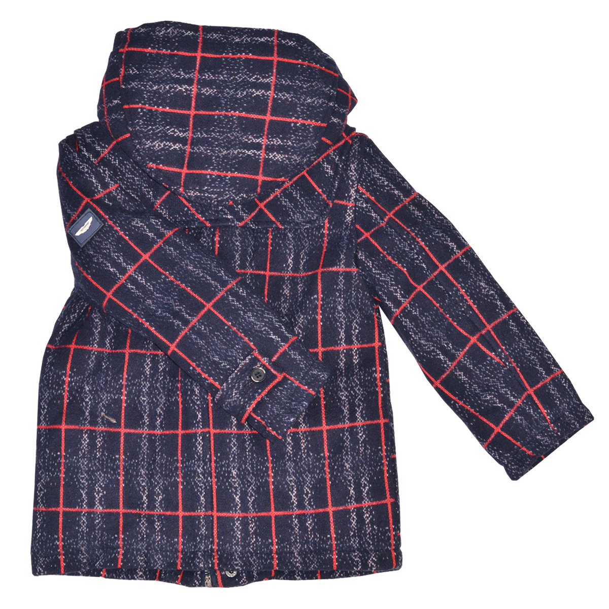 Toddler Boy Navy Blue Tweed Jacket With Hood Aston Martin Jackets