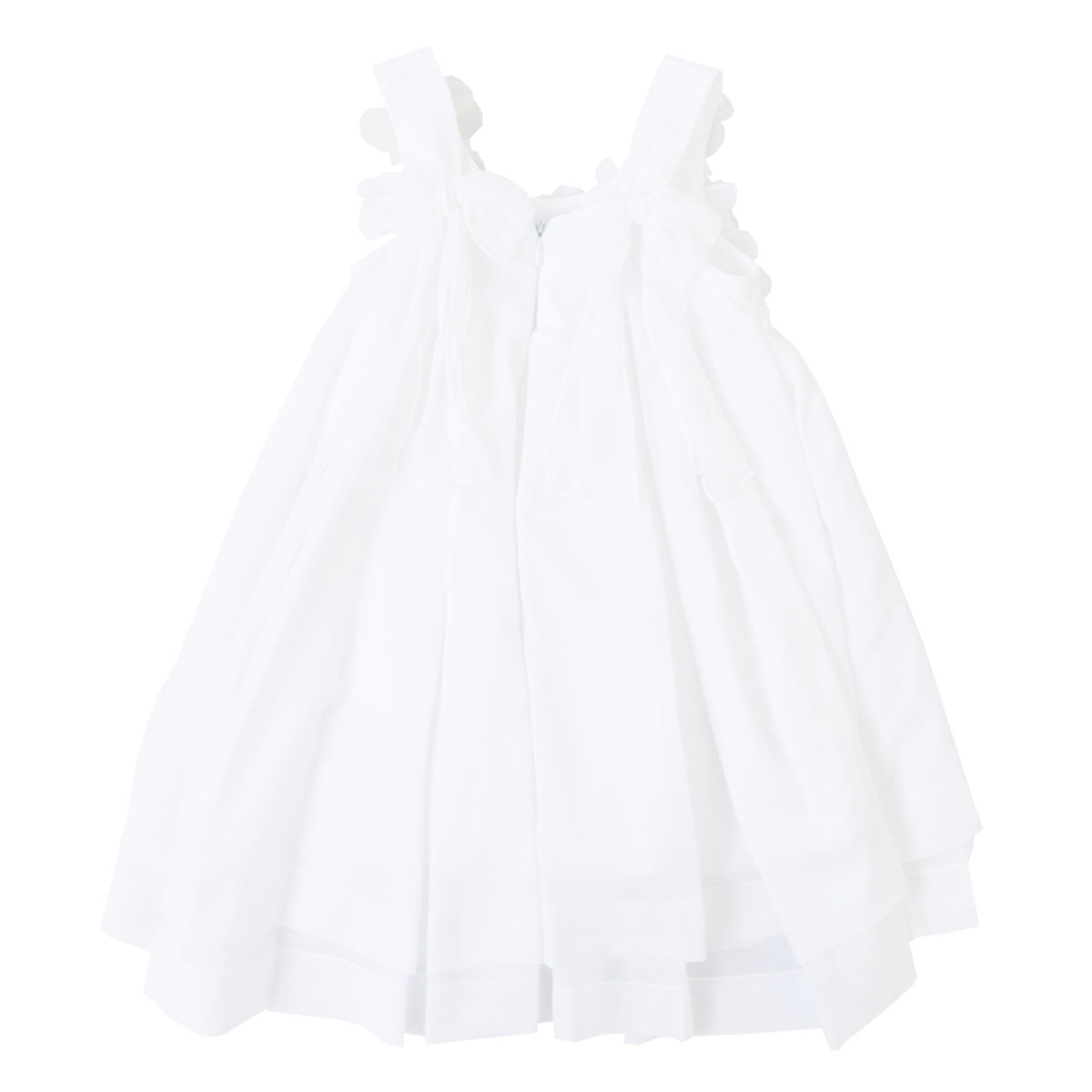 White Floral Dress With Flowers Appliqu Balloon Chic Sale
