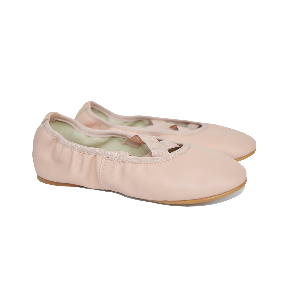 Light Pink Leather Ballerina Shoes Thumbnail
