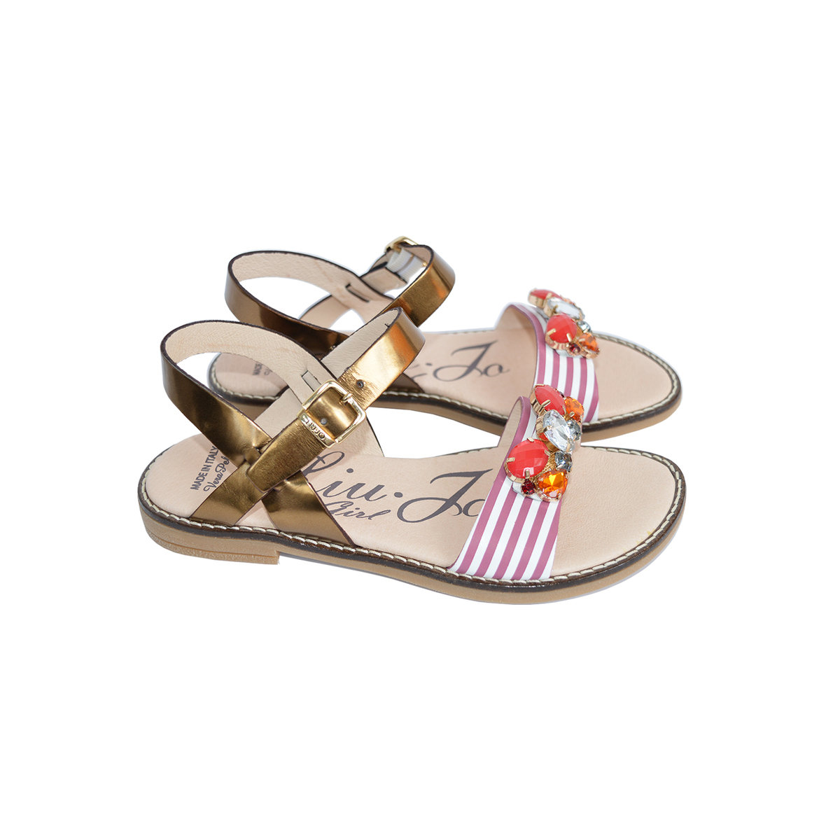 991303b1eecf Girls Leather Sandals With Gems Thumbnail