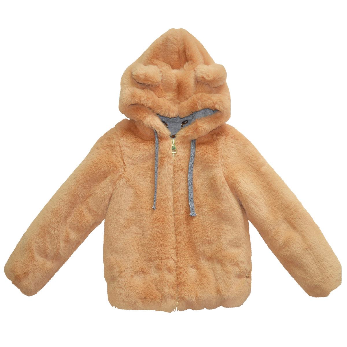 f924c7c6ffe Teddy Bear Ear Brown Faux Fur Hood Jacket | Microbe by Miss Grant ...