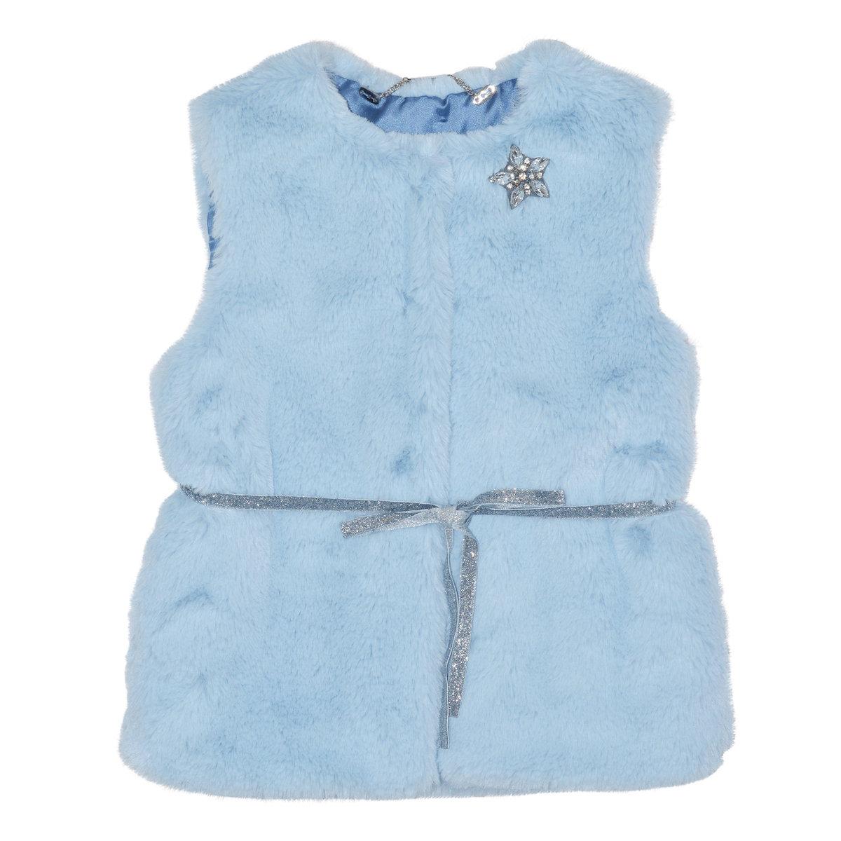 Little Girls Blue Faux Fur Vest | Microbe by Miss Grant Jackets ...