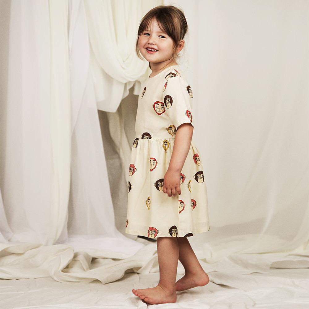 2019 Designer Baby Dress Mini Rodini Monkey Aop Woven